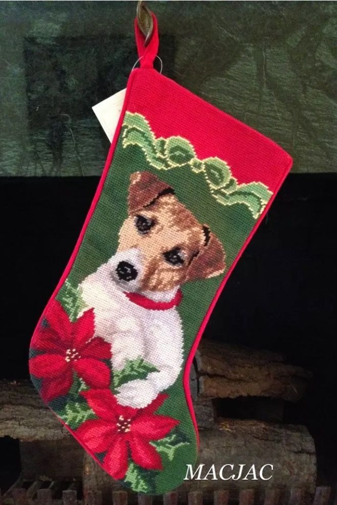 Jack Russell Terrier Dog Needlepoint Christmas Stocking