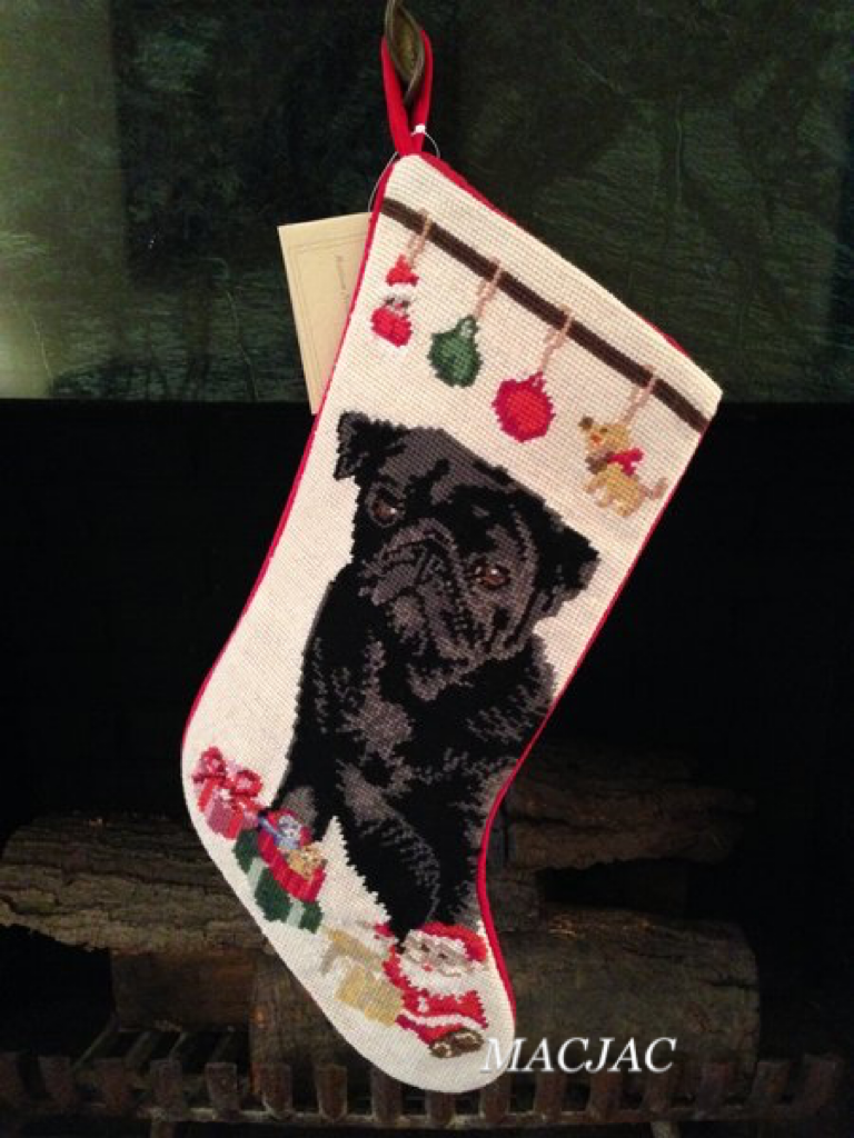 Black Pug Dog Needlepoint Christmas Stocking