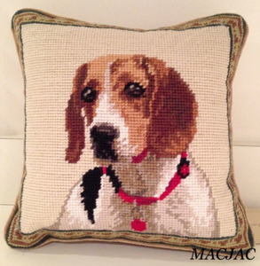 "Beagle Dog Needlepoint Pillow 10""x 10"""