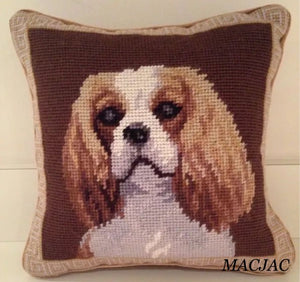 "King Cavalier Dog Needlepoint Pillow 10""x10"""