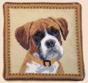 "Boxer Dog Needlepoint Pillow 10""x10"""