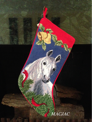 Grey Horse Needlepoint Christmas Stocking