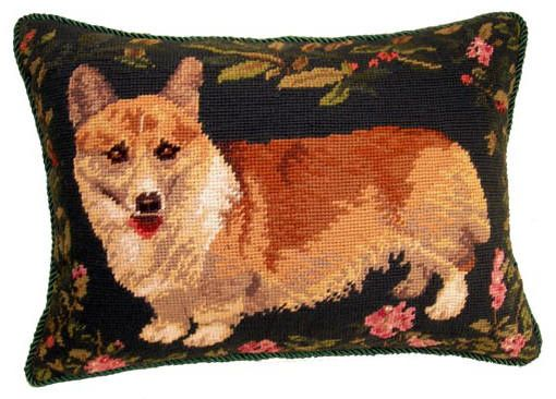 Corgi Dog Needlepoint Pillow 12