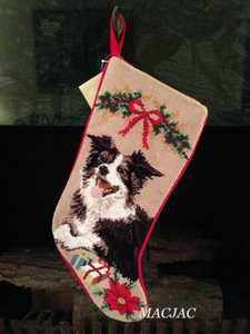 Border Collie Dog Needlepoint Christmas Stocking
