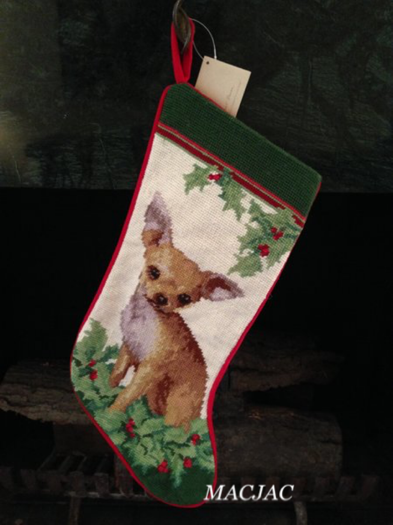 Light Chihuahua Dog Needlepoint Christmas Stocking