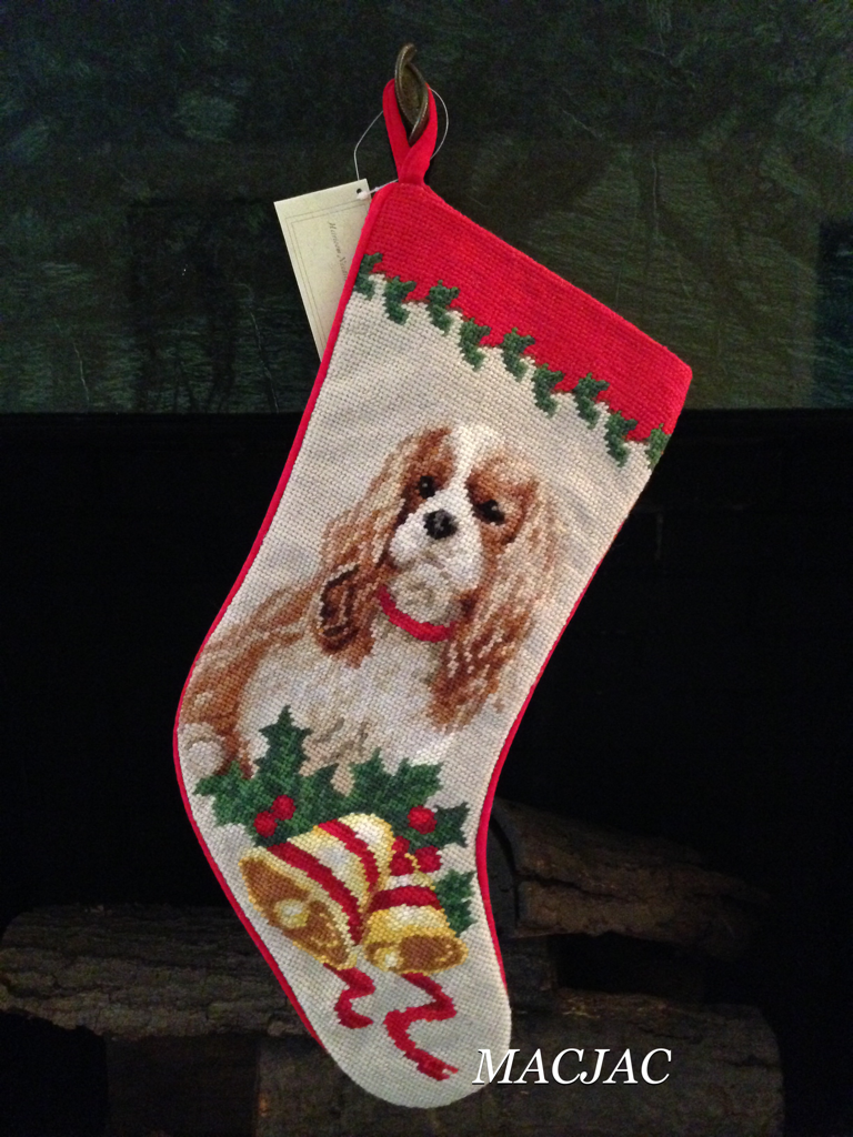 King Cavalier Dog Needlepoint Christmas Stocking