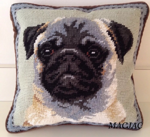 Pug Dog Needlepoint Pillow