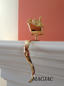 Brass Santa's Sleigh Stocking Hook Holder