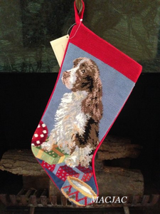 Springer Spaniel Dog Needlepoint Christmas Stocking