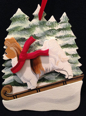 Sable/White Papillon Dog Wooden Ornament Made in USA