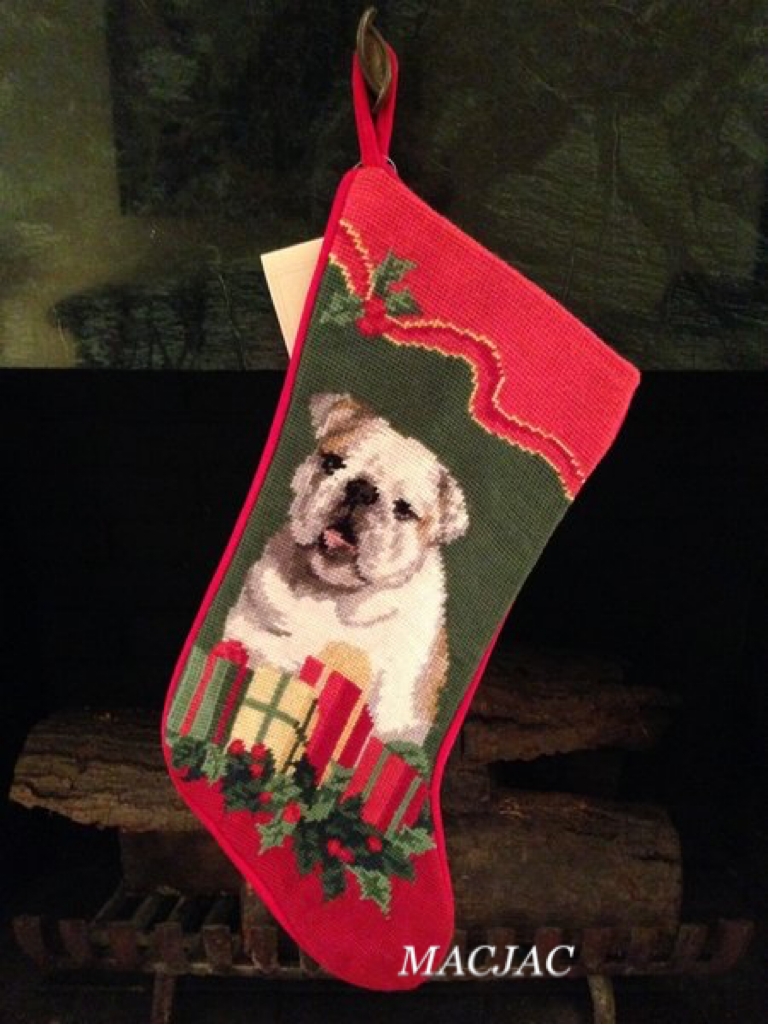 Bulldog Needlepoint Christmas Stocking