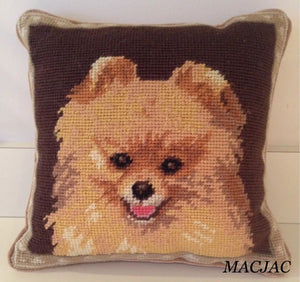 "Pomeranian Dog Needlepoint Pillow 10""x10"""