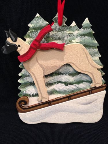 Fawn Great Dane Dog Wooden Ornament Made in USA