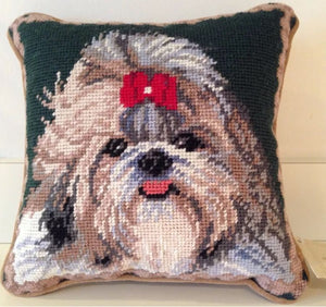 "Shih Tzu Dog Needlepoint Pillow 10"" x 10"""