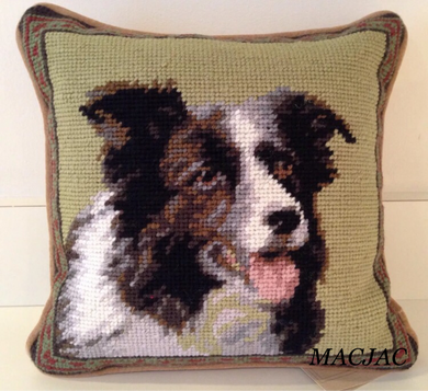 Border Collie Dog Needlepoint Pillow 10