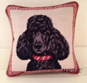 "Black Poodle Dog Needlepoint Pillow 10""x 10"""