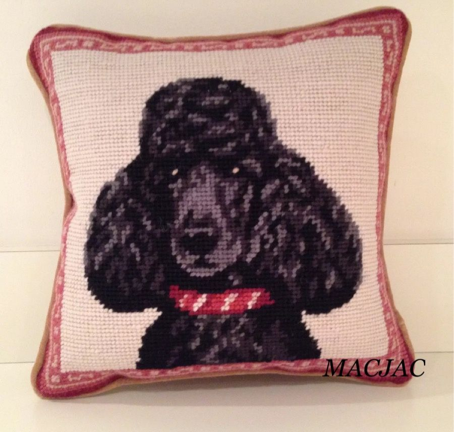 Black Poodle Dog Needlepoint Pillow 10