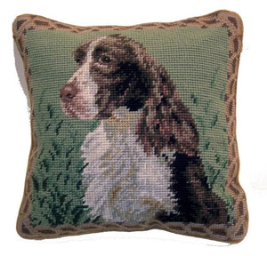 "Springer Spaniel Dog Needlepoint Pillow 10""x10"""