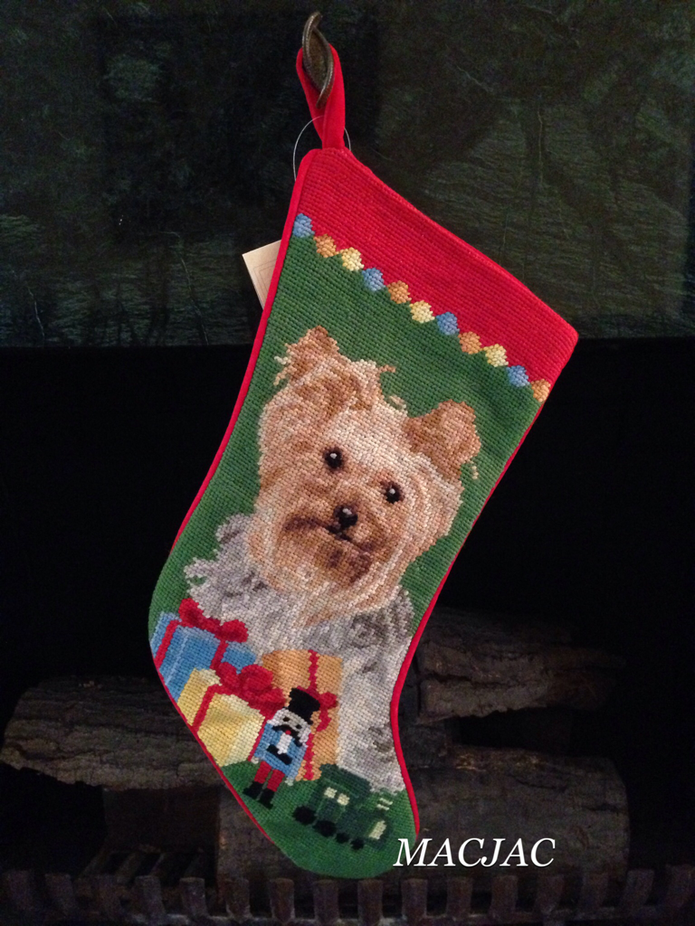 Yorkie Dog Needlepoint Christmas Stocking