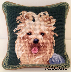 "Yorkie Dog Needlepoint Pillow 10""x10"""