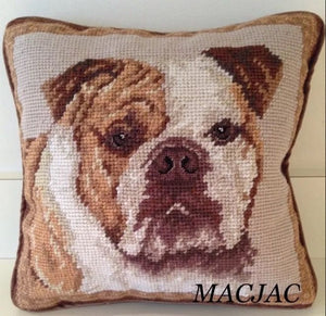 "Bulldog Needlepoint Pillow 10""x 10"""