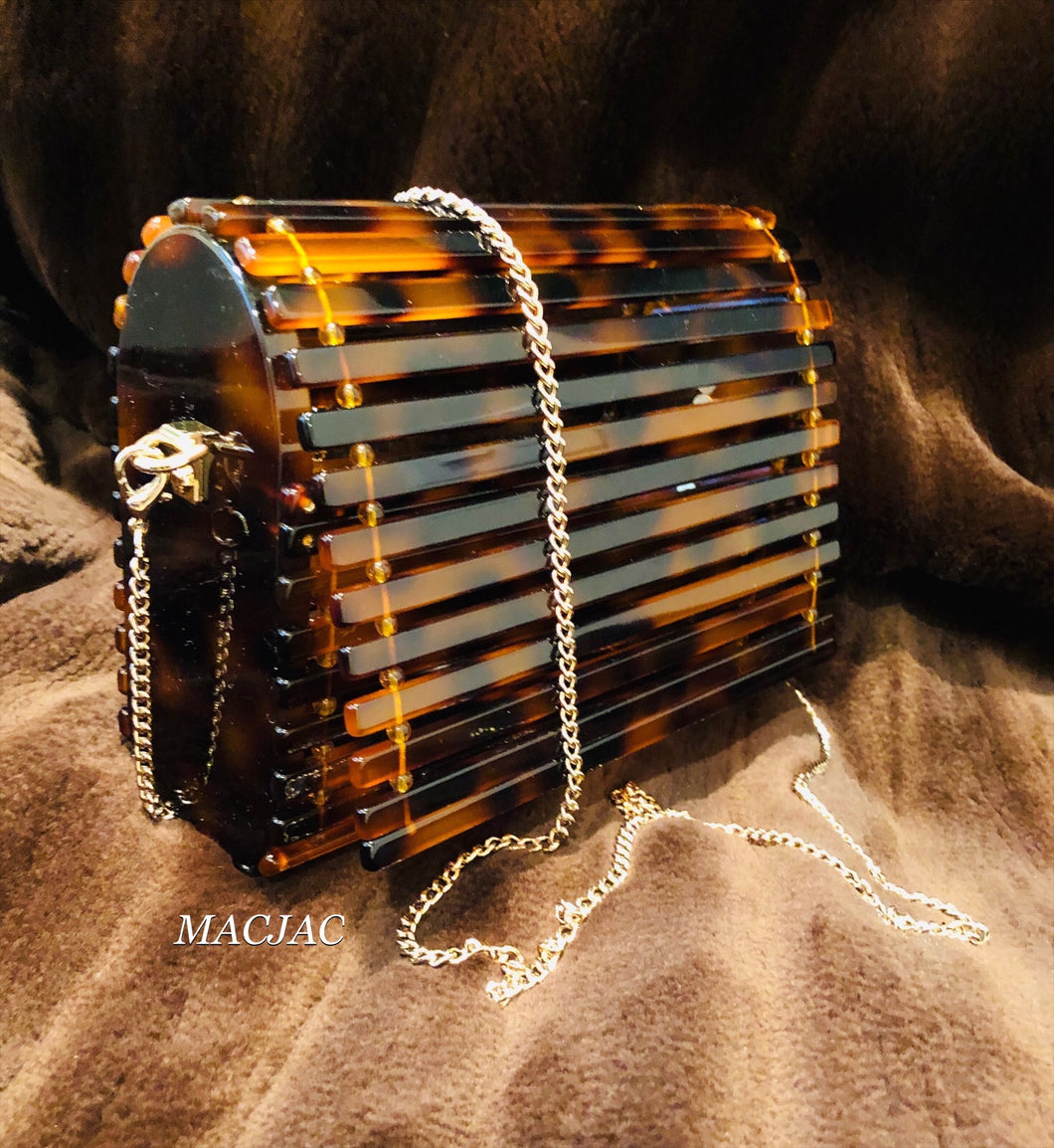 Tortoise Slatted Fold Over Polished Resin Clutch Purse/W Chain
