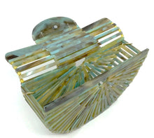 Load image into Gallery viewer, Green/Gold Marble Polished Resin Open Weave Clutch Purse/W Chain