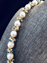 Load image into Gallery viewer, Baroque Pearl Necklace with Blue Clusters
