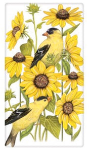 "Flour Sack Kitchen Dish Towel ""Sunflower Finch"" Mary Lake Thompson"