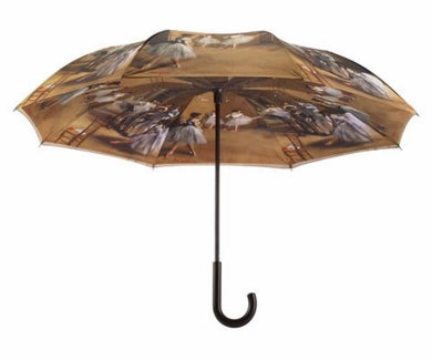 Galleria Degas Ballerinas Stick Umbrella Reverse Close