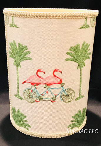 Bike Flamingo Fabric Covered Wastebasket