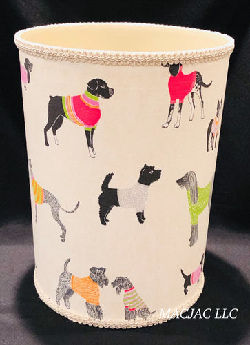 Dogs On Parade Fabric Covered Wastebasket