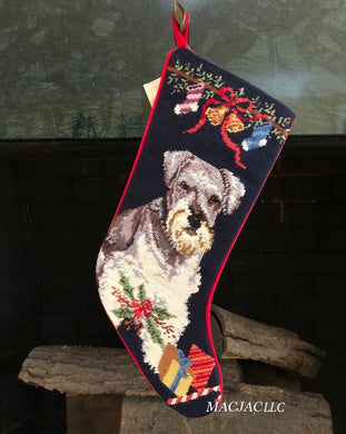 Schnauzer Dog Needlepoint Christmas Stocking