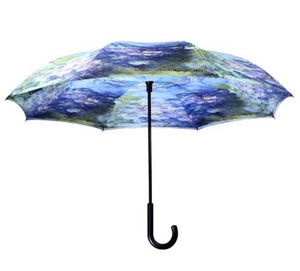 Galleria Monet's Water Lilies Stick Umbrella Reverse Close