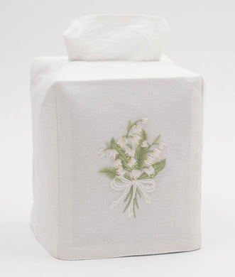 Lily of the Valley Tissue Box Cover - White Cotton