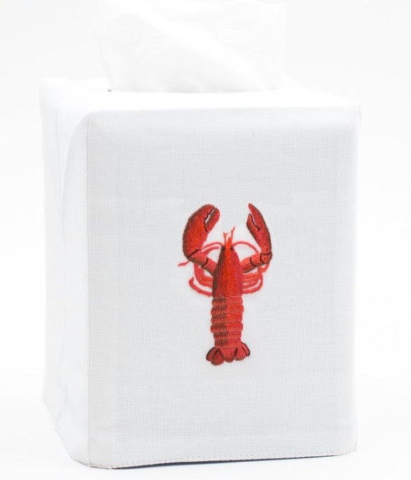 Lobster Tissue Box Cover - White Cotton