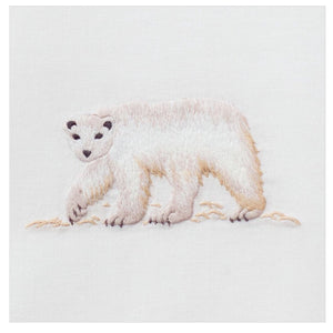 Polar Bear 100% Cotton Hand Embroidered Guest Hand Towel