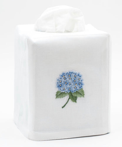 Hydrangea Blue Tissue Box Cover - White Cotton