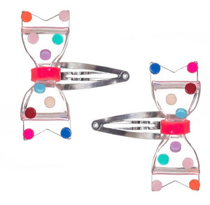 Fat Bow Girls Clear Snap Clip/Colorful Dots Set