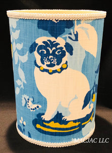 Blue Pug Fabric Covered Wastebasket