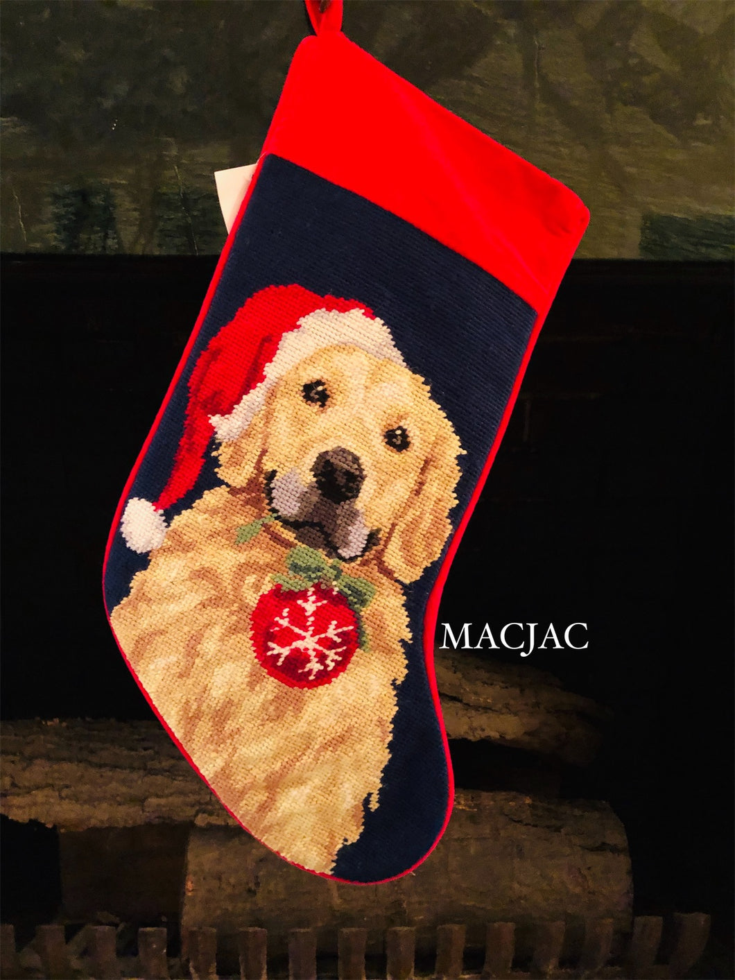 Golden Retriever With Ornament Needlepoint Stocking