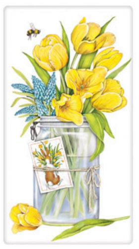 Flour Sack Kitchen Dish Towel Yellow Tulip Jar Mary Lake - Thompson