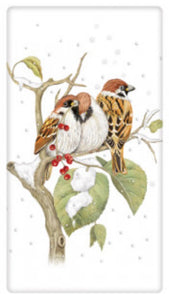 Flour Sack Kitchen Dish Towel Snow Birds Mary Lake - Thompson