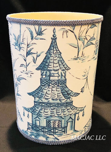 Blue Pagoda Fabric Covered Wastebasket