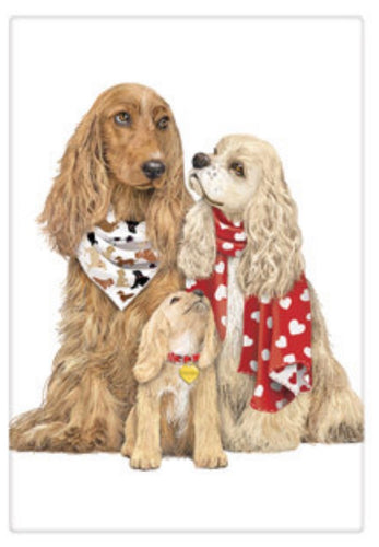 Flour Sack Kitchen Dish Towel Spaniel Family Mary Lake - Thompson