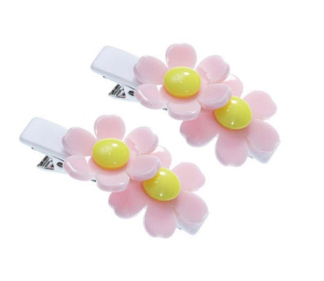 Double Daisy Light Pink White Alligator Clips (Pair)