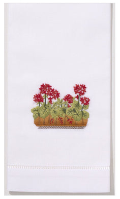 Geraniums 100% Cotton Hand Embroidered Guest Hand Towel