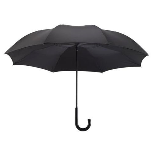 Galleria Black Stick Umbrella Reverse Close