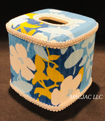 Blue Pug Fabric Covered Tissue Box Cover