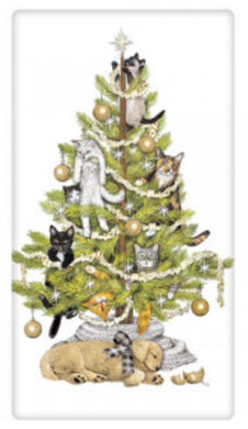 Flour Sack Kitchen Dish Towel Cat Tree Mary Lake - Thompson